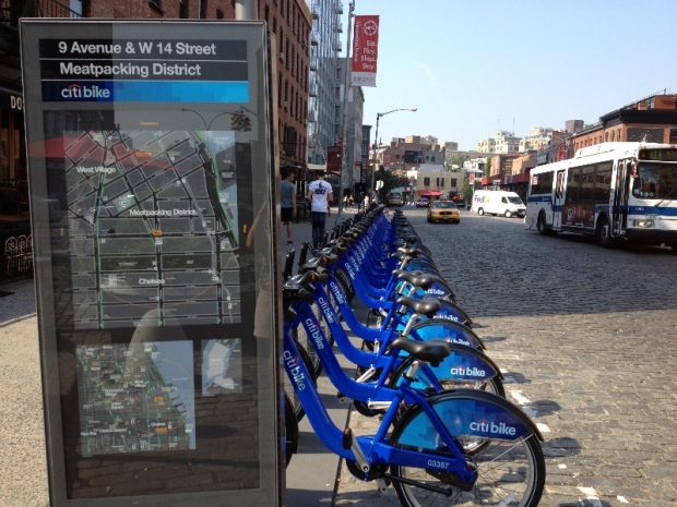 The Citi Bike Rack at West 14th Street and 9th Avenue