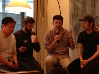 The Panelists (l to r): Chris Ying, moderator, Gideon Lewis-Kraus, Peter Meehan, Danny Bowien
