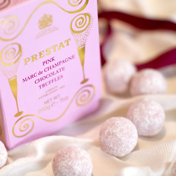pink champagne truffles chocolates