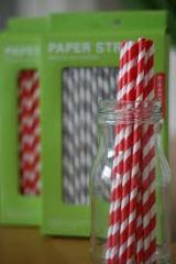 Kikkerland Striped Paper Straws