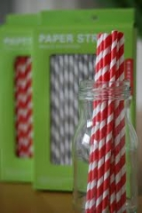 Kikkerland Striped Paper Straws