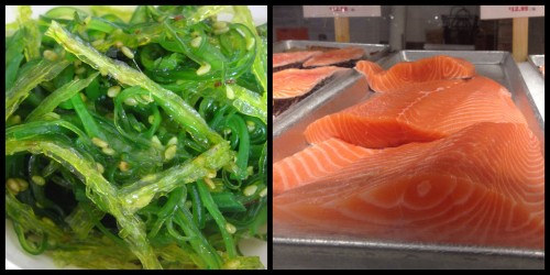 Seaweed Salad & Fresh Salmon From Lobster Place, Chelsea Market