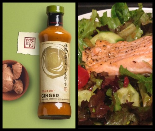 Ton Ton Ginger Japanese Dressing - Final Ton Ton Ginger Salad with Salmon