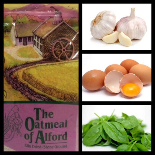 Oatmeal of Alford- Garlic-Eggs-Basil- Ingredients