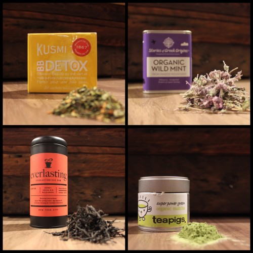 From Top left to right: Kusmi BB Detox, Stories of Greek Origins Organic Wild Mint, Everlasting Ruby 18,  Teapigs Organic Matcha